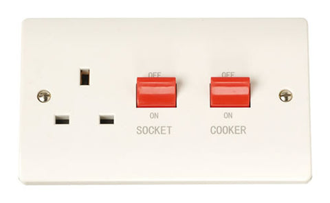 45A Switch With 13A Switched Socket Outlet