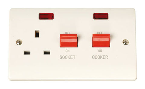 45A Switch With 13A Switched Socket Outlet + Neons
