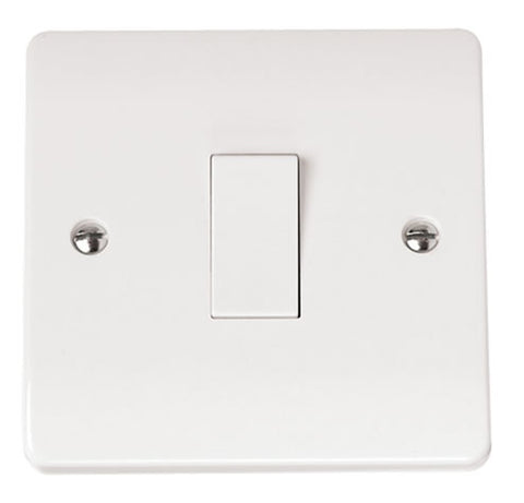 White 10AX 1 Gang 1 Way Plate Switch