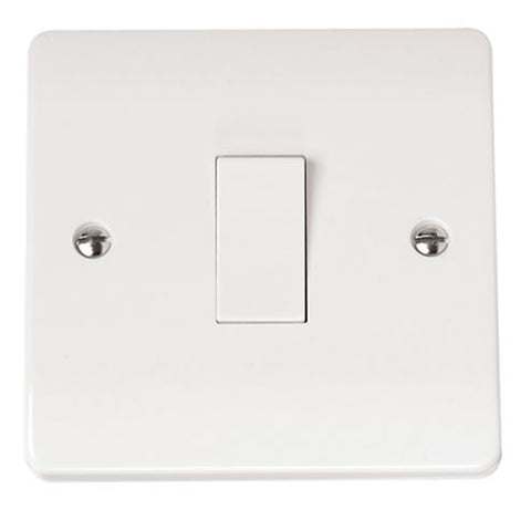 White 10AX 1 Gang 2 Way Plate Switch