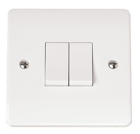 White 10AX 2 Gang 2 Way Plate Switch