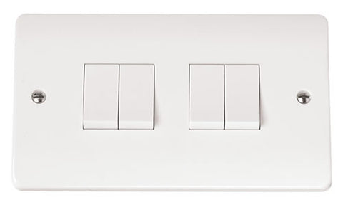 White 10AX 4 Gang 2 Way Plate Switch