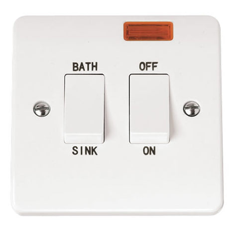 White 20A DP Sink Bath Switch With Neon