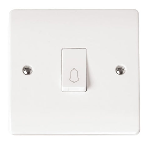 White 10AX 1 Gang 1 Way Retractive Switch 'bell'