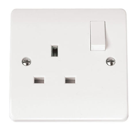 White 13A 1 Gang DP Switched Socket Outlet
