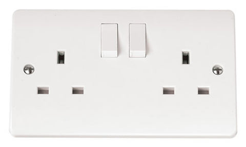 White 13A 2 Gang DP Switched Socket Outlet