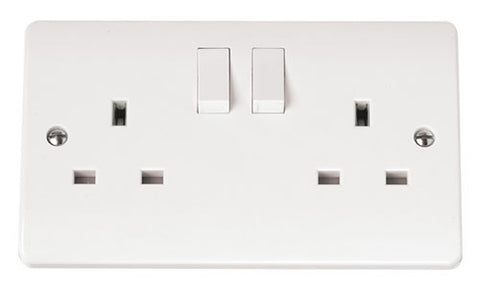 White 13A 2 Gang DP Switched Socket Outlet Clean Earth