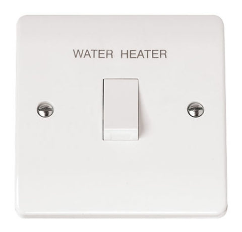 White 20A DP Switch 'water Heater'