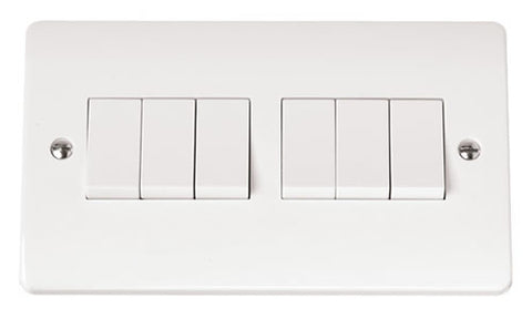 White 10AX 6 Gang 2 Way Plate Switch