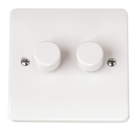 White 2 Gang 2 Way 250va Dimmer Switch
