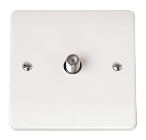 White Satellite Outlet Plate