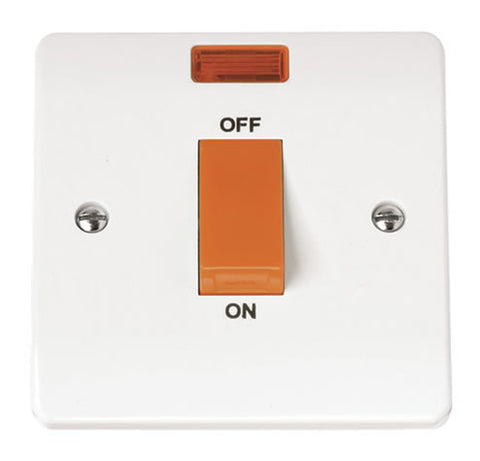 White 45A 1 Gang Single Cooker Switch With Neon
