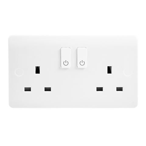 Click Smart+ Home WIFI 13A 2 Gang Switched Plug Socket
