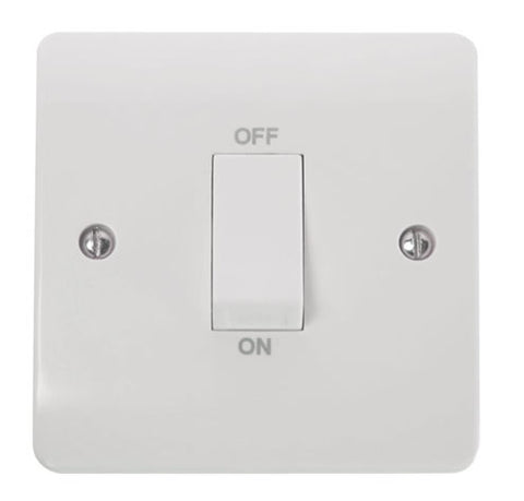 White 45A 1 Gang Single Cooker Switch