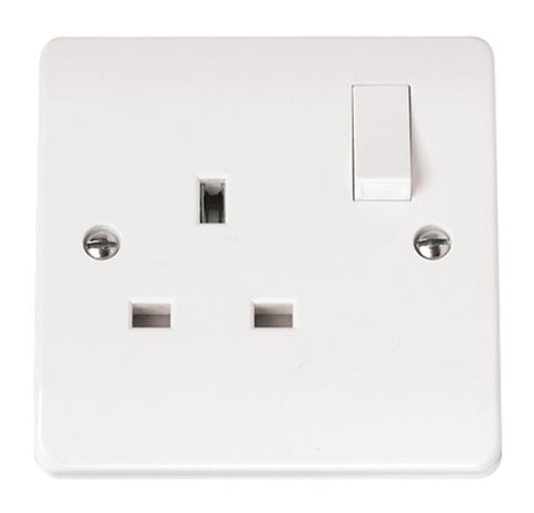 White 13A 1 Gang Socket Outlet DP Switched (twin Earth Terminals)