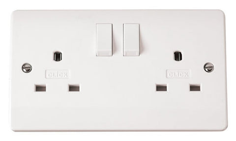 White 13A 2 Gang DP Switched Non-standard Socket Outlet