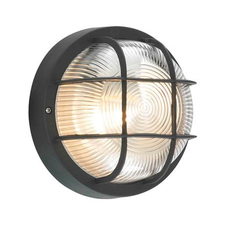 Black Polycarbonate & Glass Zinc Mars Outdoor Bulkhead Light -  IP44