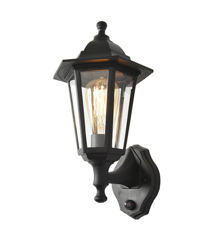 Black Coast Bianca Polycarbonate E27 Lantern with PIR -  IP44