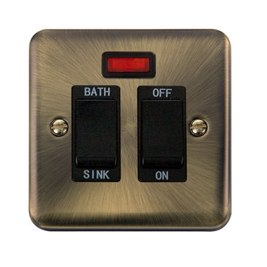 Curved Antique Brass 20A DP Sink/Bath Switch With Neon - Black - Black