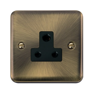 Curved Antique Brass 5A Round Pin Socket - Black - Black