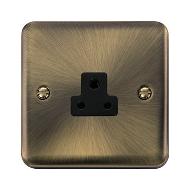 Curved Antique Brass 2A Round Pin Socket - Black - Black
