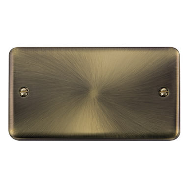 Curved Antique Brass 2 Gang Blank Plate - Black