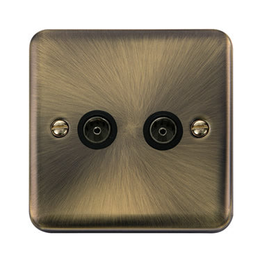 Curved Antique Brass Twin Coaxial Outlet - Black - Black