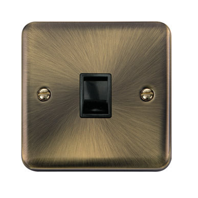 Curved Antique Brass Single RJ11 (Irish/US) Outlet - Black - Black