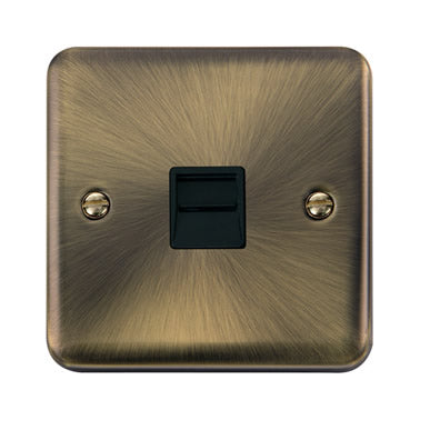 Curved Antique Brass Single Telephone Outlet - Master - Black - Black