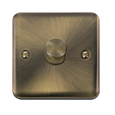 Curved Antique Brass 1 Gang 2 Way 400Va Dimmer Switch - Black
