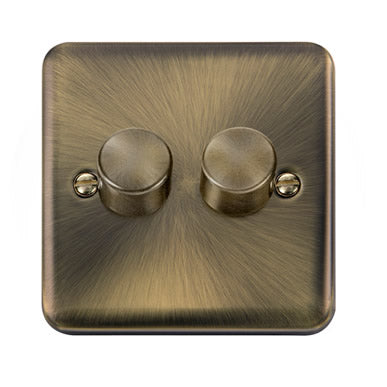 Curved Antique Brass 2 Gang 2 Way 400Va Dimmer Switch - Black