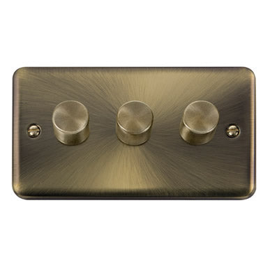 Curved Antique Brass 3 Gang 2 Way 400Va Dimmer Switch - Black