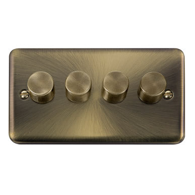 Curved Antique Brass 4 Gang 2 Way 400Va Dimmer Switch - Black
