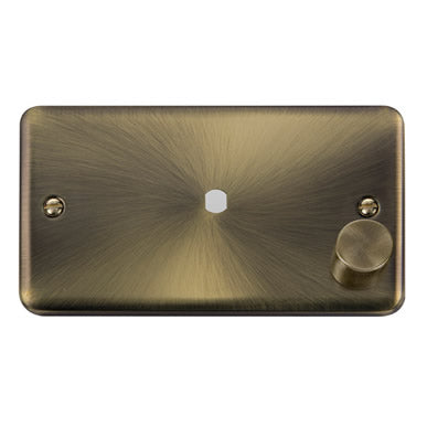 Curved Antique Brass 2 Gang Unfurnished Dimmer Plate & Knob (630W or 1000W) - 1 Aperture - Black