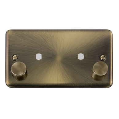 Curved Antique Brass 2 Gang Unfurnished Dimmer Plate & Knobs (1630W Max) - 2 Apertures - Black