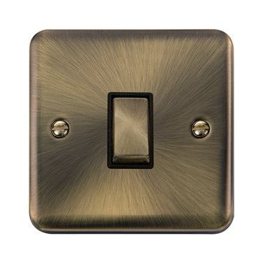 Curved Antique Brass 10AX Ingot 1 Gang 2 Way Plate Switch - Black - Black