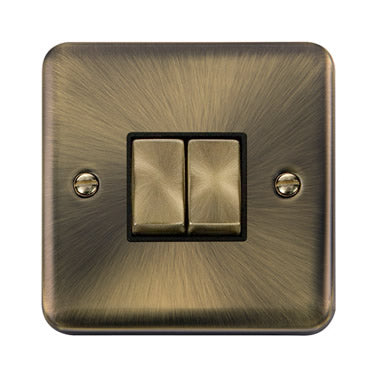Curved Antique Brass 10AX Ingot 2 Gang 2 Way Plate Switch - Black - Black