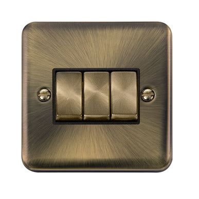 Curved Antique Brass 10AX Ingot 3 Gang 2 Way Plate Switch - Black - Black