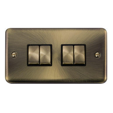 Curved Antique Brass 10AX Ingot 4 Gang 2 Way Plate Switch - Black - Black