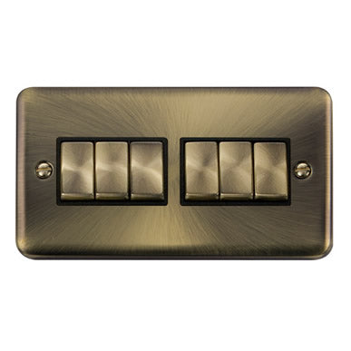 Curved Antique Brass 10AX Ingot 6 Gang 2 Way Plate Switch - Black - Black