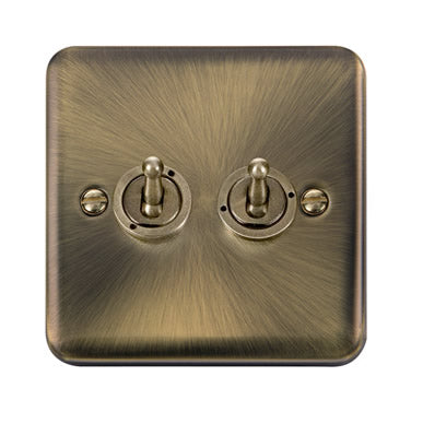 Curved Antique Brass 10AX 2 Gang 2 Way Toggle Switch - Black Trim