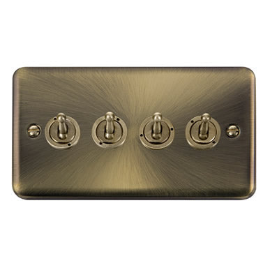 Curved Antique Brass 10AX 4 Gang 2 Way Toggle Switch - Black