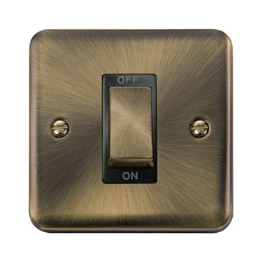 Curved Antique Brass 45A Ingot 1 Gang DP Switch - Black - Black