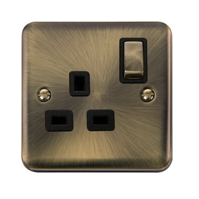 Curved Antique Brass 13A Ingot 1 Gang DP Switched Socket - Black - Black
