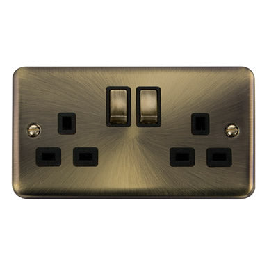 Curved Antique Brass 13A Ingot 2 Gang DP Switched Socket - Black - Black