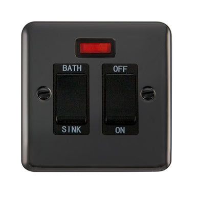 Curved Black Nickel 20A DP Sink/Bath Switch With Neon - Black - Black