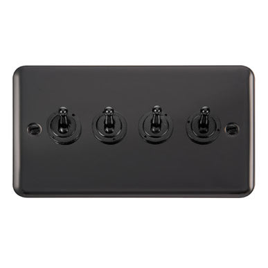 Curved Black Nickel 10AX 4 Gang 2 Way Toggle Switch - Black Trim