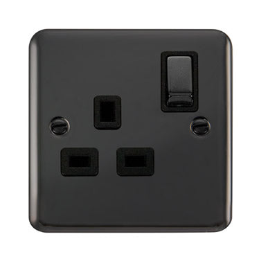 Curved Black Nickel 13A Ingot 1 Gang DP Switched Socket - Black - Black