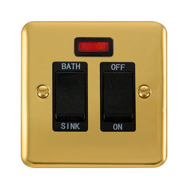 Curved Polished Brass 20A DP Sink/Bath Switch With Neon - Black Trim Trim- Black Trim