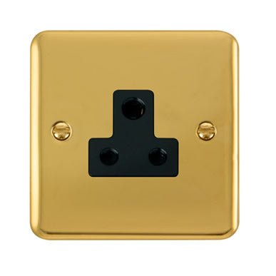 Curved Polished Brass 5A Round Pin Socket - Black Trim Trim- Black Trim